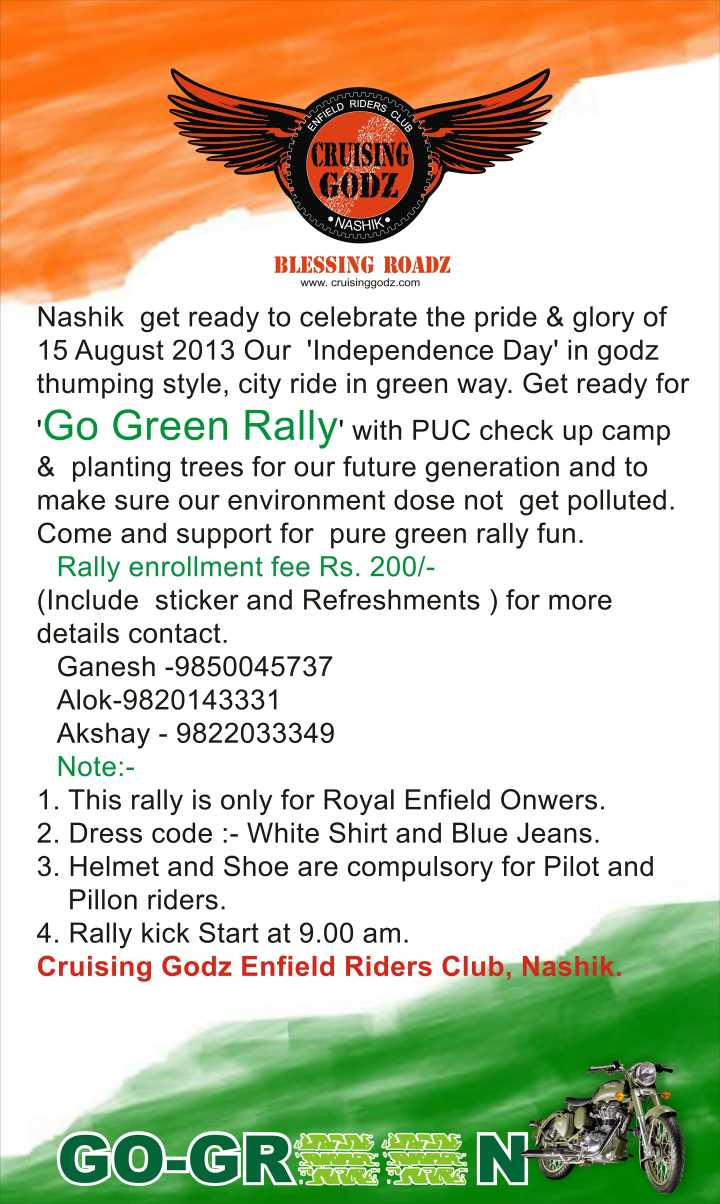 Go green rally by cruising godz nashik