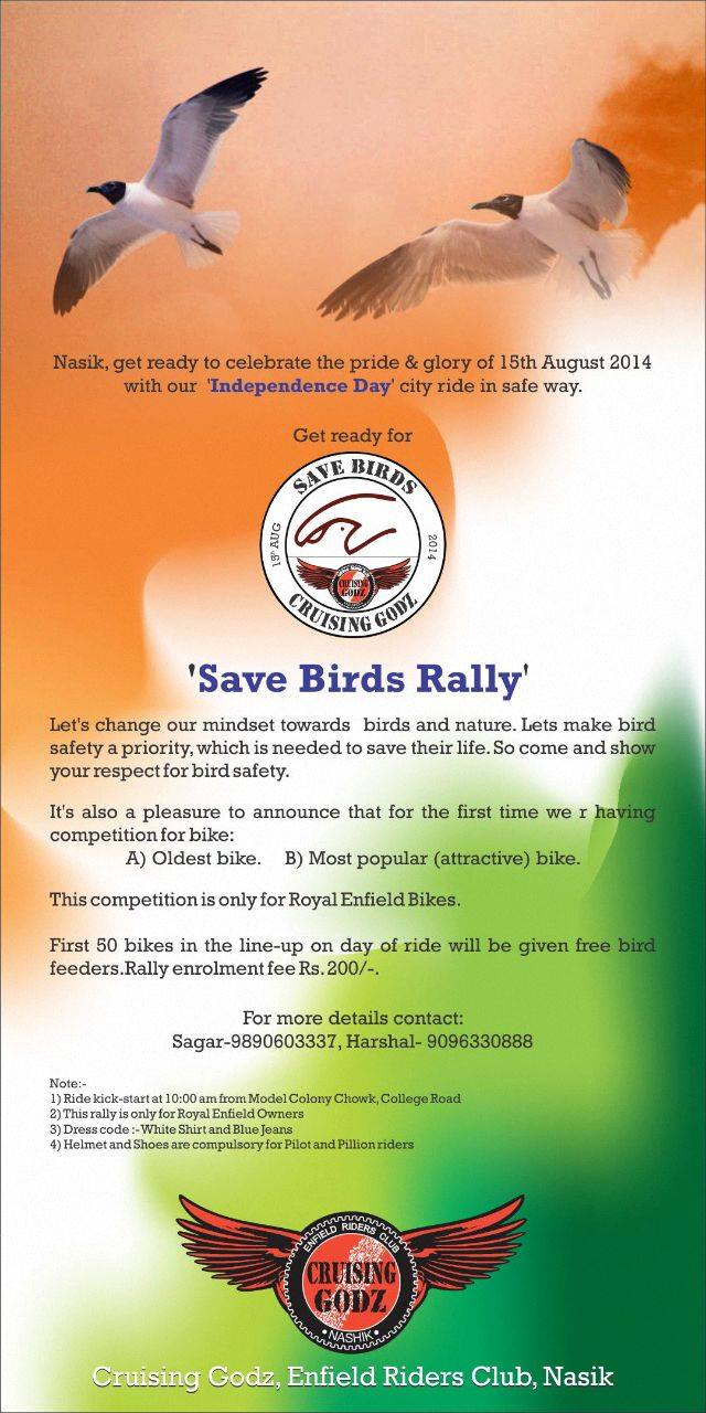 Crusing Godz Save Bird Rally nashik
