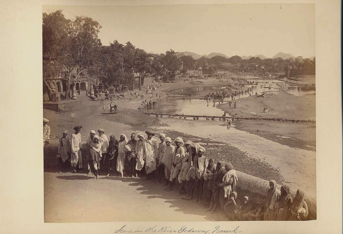 River Godavery, Nashik - an albumen photo of a pilgrimage center -1880's