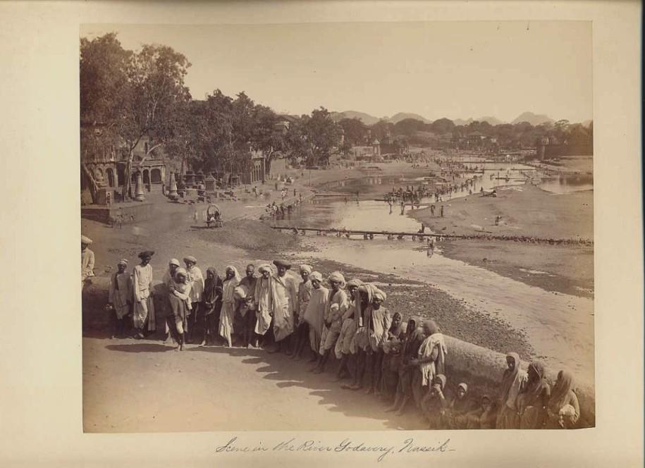 River Godavery, Nashik - an albumen photo of a pilgrimage center -1880's