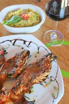 Langoustines du lac et beurre de corall, risotto au safran et brocoli (Barbecuewd Gangapur Lake scampli, Coral butter, saffron risotto with borccoli)