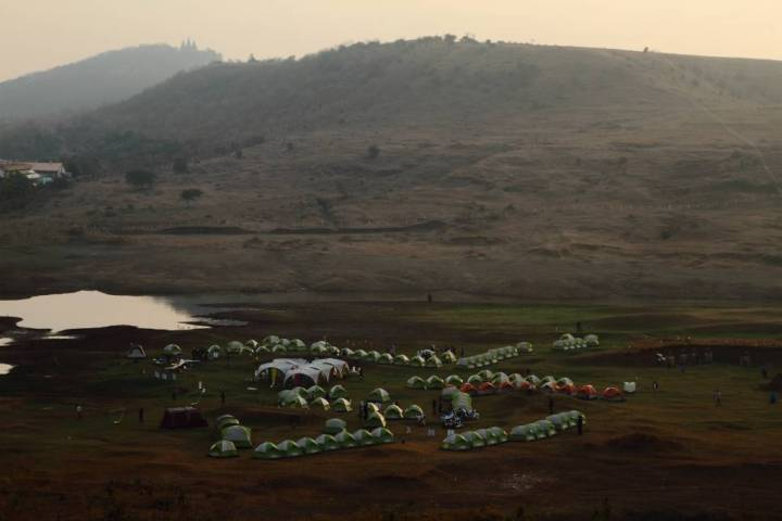 Tent City within the lush estate of Sula