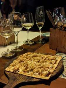 bbq chicken and onion pizza at Sula vineyards