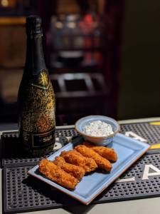 fish fingers at at Sula vineyards