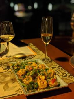 salt and pepper prawns at Sula vineyards